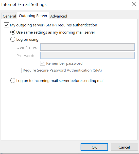 outlook email server settings